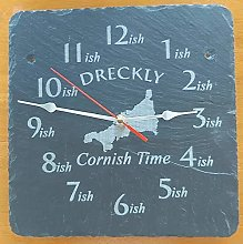 Dreckly Slate Clock - Etched in Cornwall Map