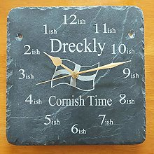 Dreckly Slate Clock - Etched in Cornwall Reverse