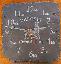 Dreckly Slate Clock - Etched in Cornwall Tin Mine