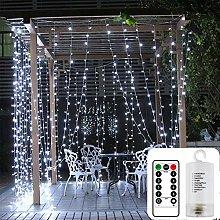 DreiWasser Curtain Lights Battery Powered, 3m x 3m