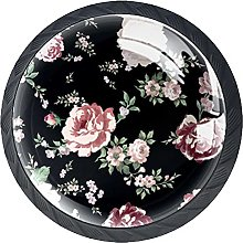 Dresser Drawer Handles Flowers Red Black Bar Knobs