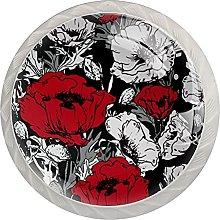 Dresser Drawer Handles Red White Flower Bar Knobs