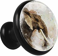 Dresser Knobs Elephant Painting 4 Packs Kitchen