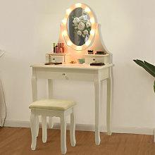 Dressing Table Set Cushioned Stool Mirror LED