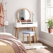 Dressing Table Set with Round Mirror, 2 Large