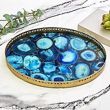 Dressing Table Tray Glass Surface Tray Blue Agate