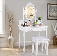 Dressing Table,Vanity Table Set with Oval Mirror