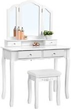 Dressing Table with 4 Drawers, Makeup Vanity Table