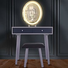 Dressing Table With LED Lights Mirror, Vanity