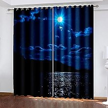 DRFQSK 3D Blackout Curtains For Bedroom Night View