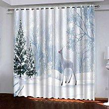 DRFQSK Blackout Curtains 3D Christmas Elk Snow