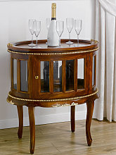 Drink cabinet Coloniale oval shaped showcase