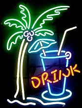 Drink Real Glass Neon Light Sign Home Beer Bar Pub