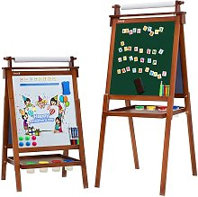 Dripex Adjustable Children Kids Double Sided Wooden Easel Magnetic Board
