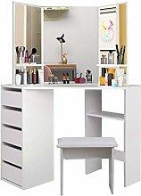 Dripex Corner Dressing Table - White Makeup Desk