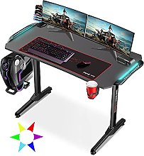 Dripex Gaming Desk Ergonomic with LED Lights