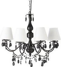 Drop Bead Chandelier in Black Metal with White