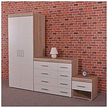DRP Trading 3 Piece White & Sonoma Oak Bedroom