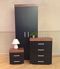 DRP Trading Bedroom Furniture Set *Black & Walnut*