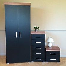DRP Trading Bedroom Furniture Set Black/Walnut -