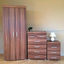 DRP Trading *Bedroom Furniture Set Walnut Effect*