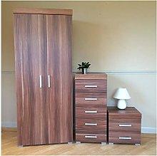 DRP Trading Bedroom Furniture Set Walnut Effect -