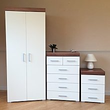 DRP Trading *Bedroom Furniture Set White & Walnut*