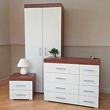 DRP Trading Bedroom Furniture Set *White & Walnut*