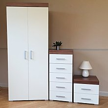 DRP Trading Bedroom Furniture Set White/Walnut -