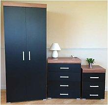 DRP Trading Black & Walnut Bedroom Furniture Set -