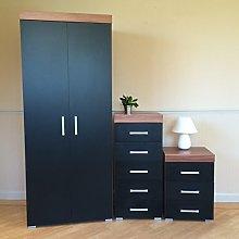 DRP Trading Black & Walnut Bedroom Set! Wardrobe,