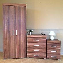 DRP Trading Walnut Effect Bedroom Furniture Set -