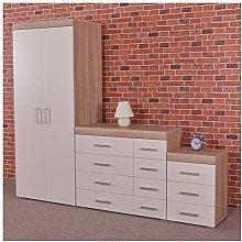 DRP Trading White/Sonoma Oak Bedroom Furniture Set
