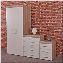 DRP Trading White & Sonoma Oak Bedroom Furniture