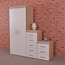 DRP Trading White & Sonoma Oak Bedroom Set!