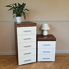 DRP Trading White & Walnut 5 Drawer Tall Boy Chest