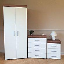 DRP Trading White & Walnut Bedroom Furniture Set -