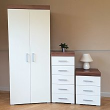 DRP Trading White & Walnut Bedroom Set! Wardrobe,
