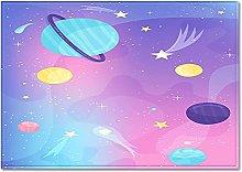 DRTWE Cartoon Starry Sky Planet Printed Velvet