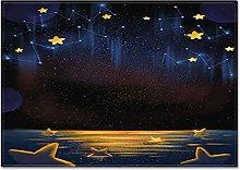 DRTWE Simple Gold Star Blue Sky Printed Velvet