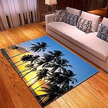 DRTWE Velvet Area Rug For Living Room Beach Palm