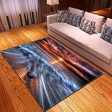 DRTWE Velvet Area Rug For Living Room Raging Waves