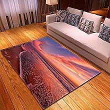 DRTWE Velvet Area Rug For Living Room Red Seascape