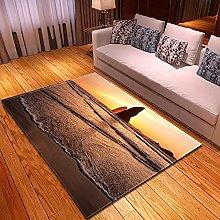 DRTWE Velvet Area Rug For Living Room Sea Sunset