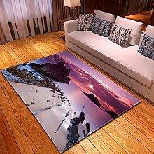 DRTWE Velvet Area Rug For Living Room Seascape