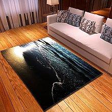 DRTWE Velvet Area Rug For Living Room Silent Ocean