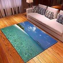 DRTWE Velvet Area Rug For Living Room Turquoise