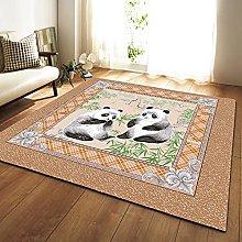 DRTWE Vintage Cute Panda Printed Velvet Area Rug