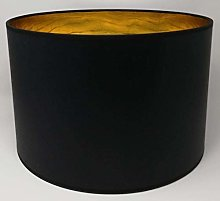 Drum Lamp Shade Black Fabric Gold Lining for