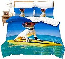 dsgsd duvet cover simple surf dog animal blue sky
